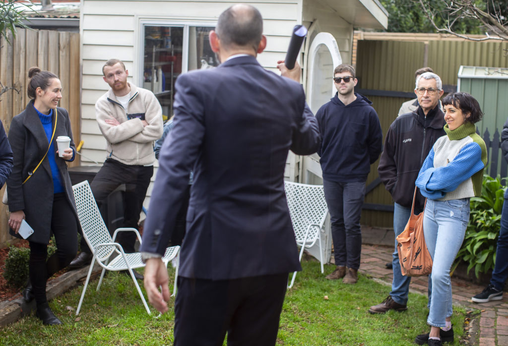 Photo by Stephen McKenzie (0425 846 182) taken at the auction of 15 Latham St, Northcote on June 27, 2020.