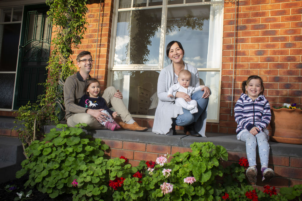 Photo of Melissa Prior-Hocking and husband David Hocking and their kids (Annabel, 6, Eloise, 3, and Noah, baby) taken by Stephen McKenzie.The couple were listing their home just as Daniel Andrews made the announcement about the second round of stage 3 restrictions.They are hoping to sell either prior to auction or at an online auction in August before the lockdown ends.