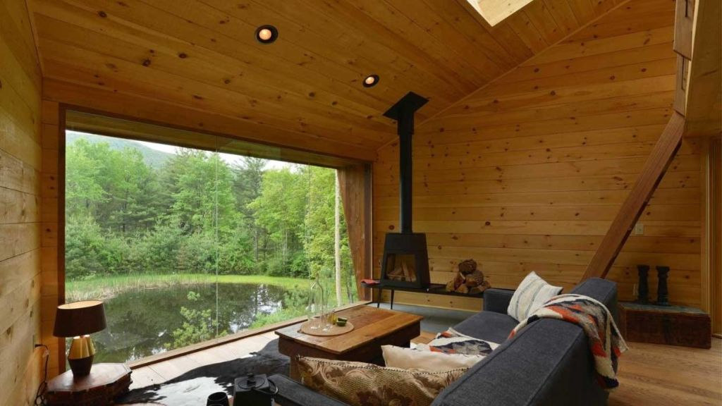 The wood interior is warm and cosy.