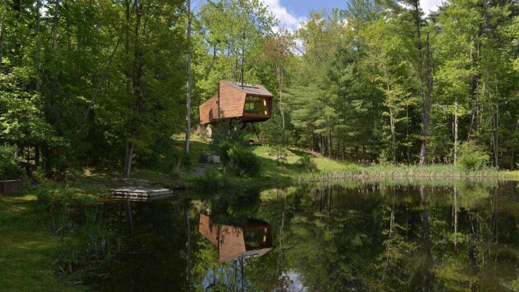 The Inhabit Treehouse overlooks the Catskills mountain range in Woodstock, New York.