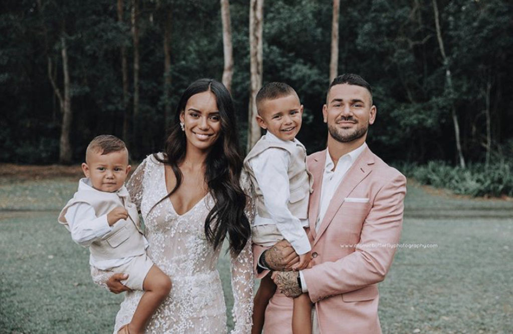 Jade and Nathan Peats with sons Harlen-Reign (L), 3 and Leyton (R), 5