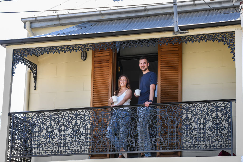 Ralf Capel and his partner Emma at their recently purchased home in Birchgrove, Sydney