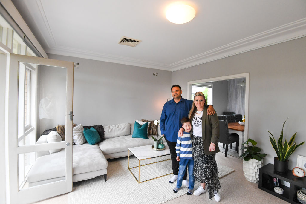 Photo shows, Kylie Soltani with husband Mansour and son Soren at their East Lindfield home after they recently purchased it.