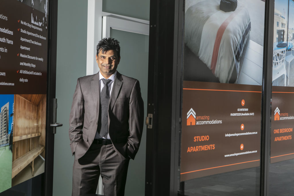 Pawan Sinha, President Victorian Accommodation Industry Association/Director Australian Short-term Rental Association, photographed by Stephen McKenzie in his Malcolm St, Sth Yarra office on January 15, 2021.