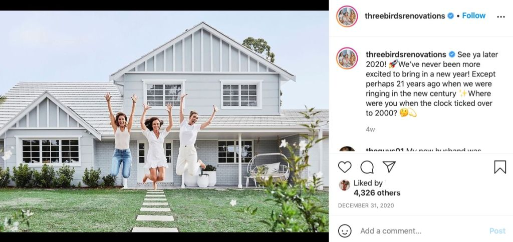 Three Birds Renovations is one of the biggest Australian Instagram influencers for home renovations.