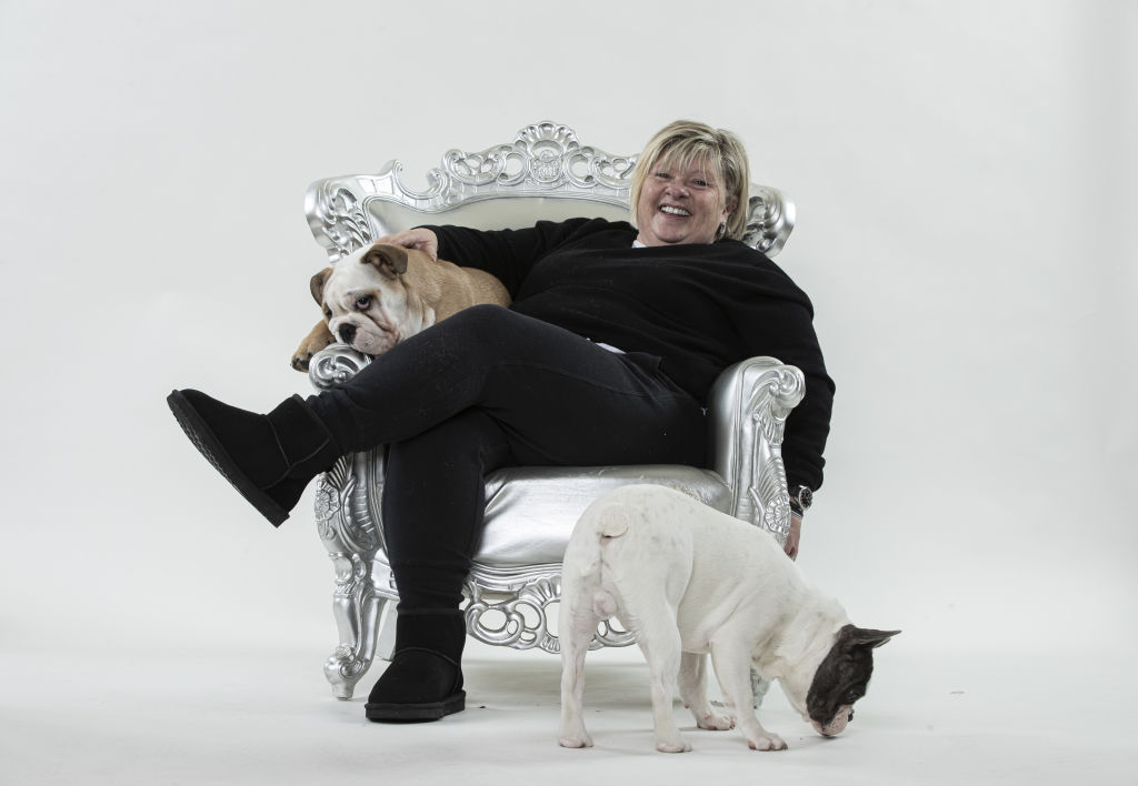 Betty Klimenko with her puppies Buddy (white French Bulldog) and Buster