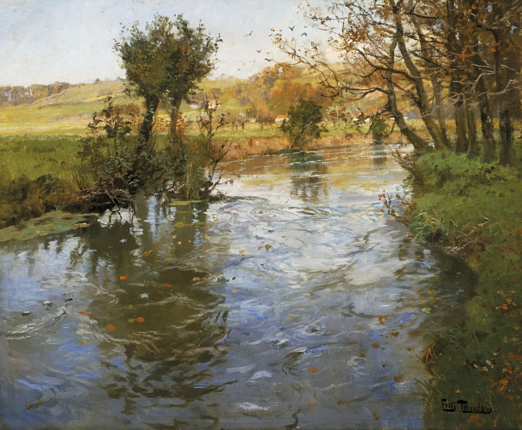 Frits Thaulow   Norwegian 1847–1906  River view c. 1890–1900  oil on canvas  53.3 x 66.0 cm