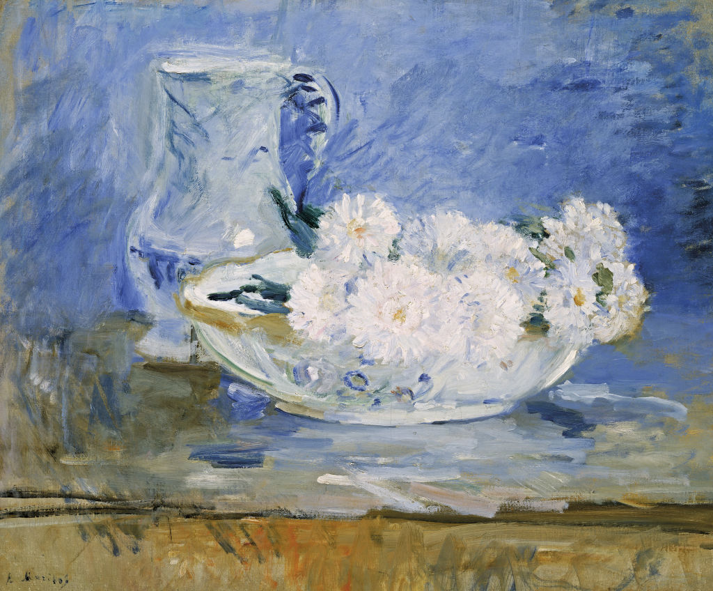 Berthe Morisot   French 1841–95  White flowers in a bowl 1885  oil on canvas  46.0 x 55.0 cm
