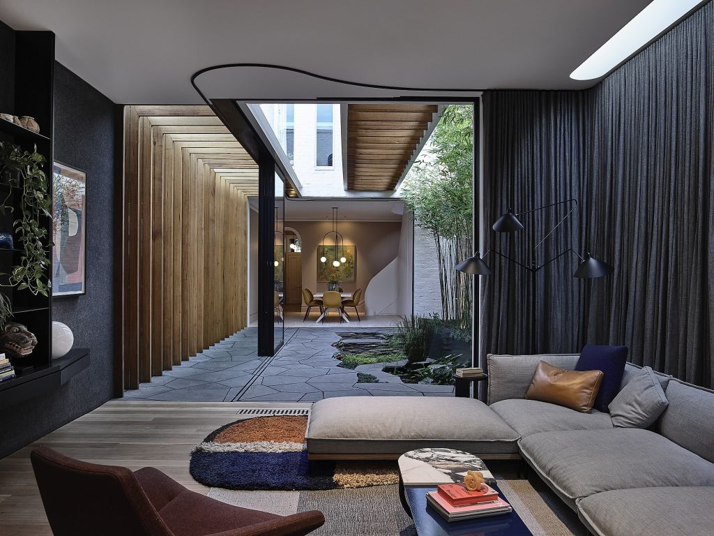 Fitzroy Bridge House can incorporate its lovely courtyard in good weather. Dezeen Awards.