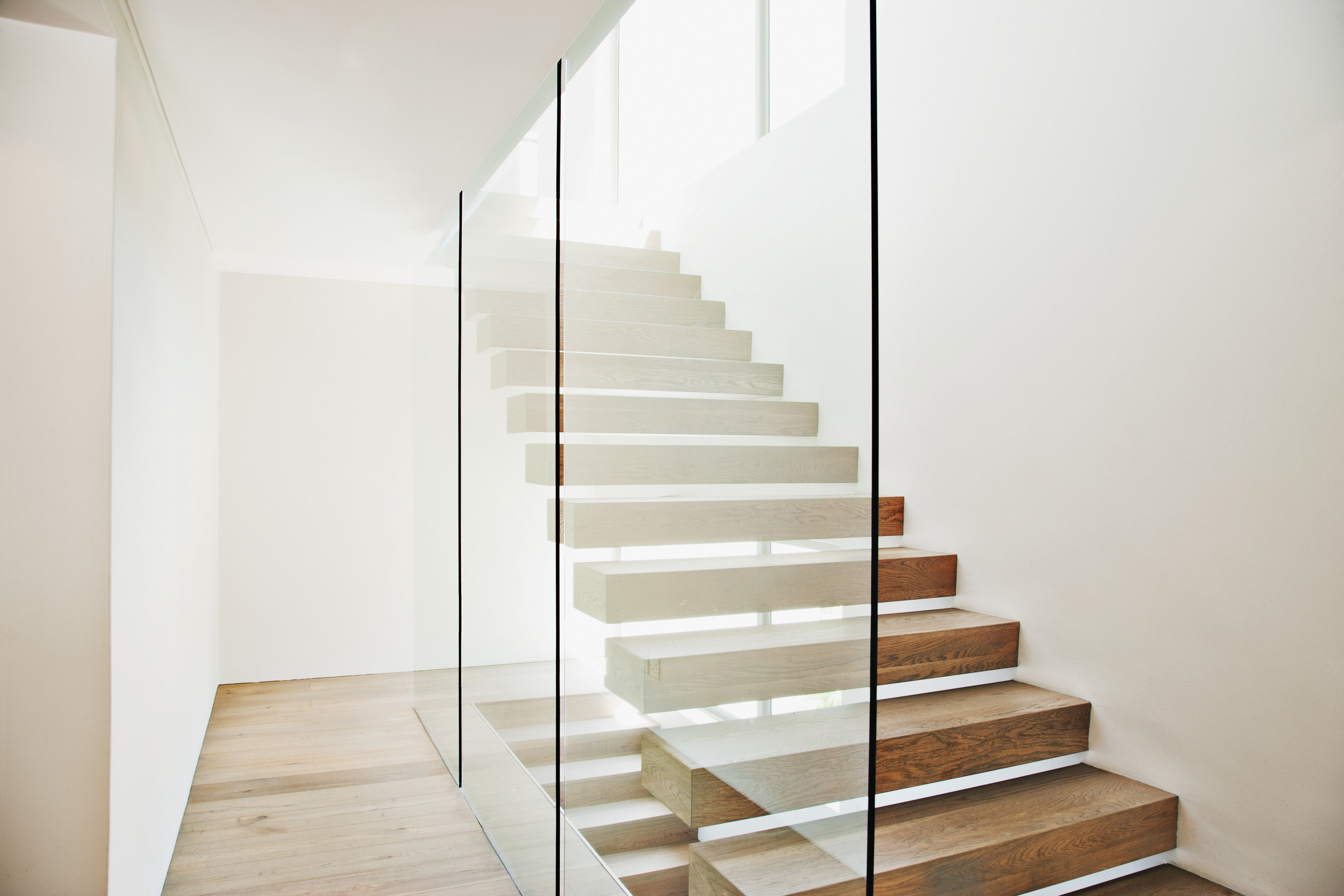 A floating staircase in a modern house