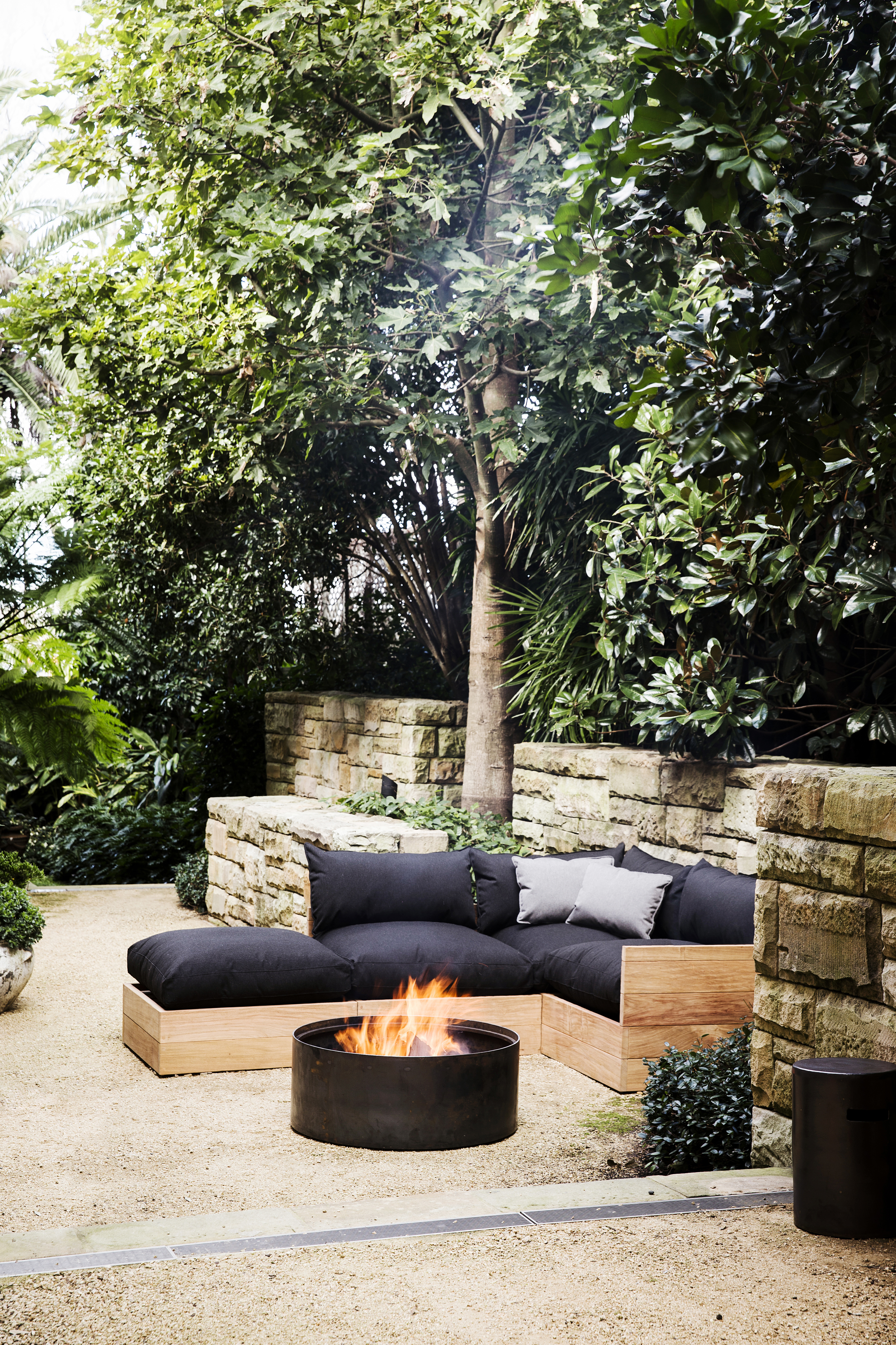 Robert Plumb Molly (Mel)Drum firepit and Fatso Sofa