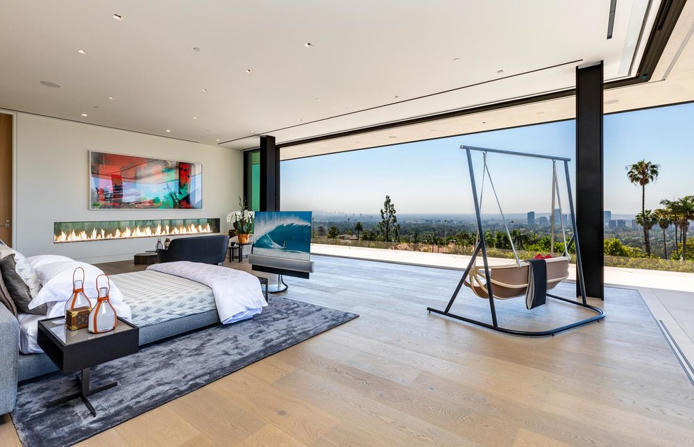 One of nine bedrooms in the enormous mansion.